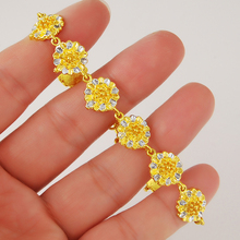 24K Gold Plating Jewelry Luxury Delicate Flower Chain Bracelet for Women Ladies Vintage Wedding Accessories