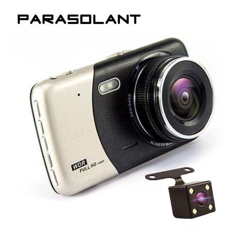 PARASOLANT 4,0 дюймов ips Экран Видеорегистраторы для автомобилей автомобиля Камера двойной Запись тире Камера Full HD 1080 P видео 170 градусов T810 регист...