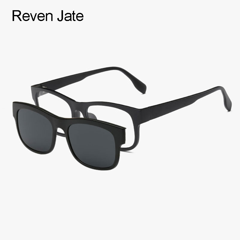 ada4f1465a10 Reven Jate 2203 Plastic Polarized Sunglasses Frame with Magnetic Super  Light Mirror Coating Polarize Sunwear Clip-ons