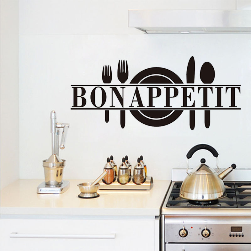 Bon Appetit French Spanish Quotes Food Wall Stickers With Cooking Tool Knife And Fork Applied In Kitchen Dining Room Decor