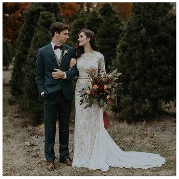 10a5719e6 LORIE Boho vestidos de novia de manga larga apliques de encaje dentro de  satén botón exterior espalda princesa vestido de novia