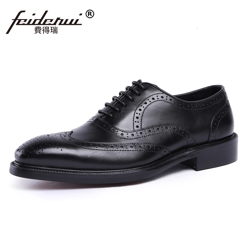 Vintage Formal Dress Man Carved Brogue Shoes Genuine Leather Round Toe Platform Men's Handmade Wedding Party Oxfords JS40 luxury formal dress man carved brogue shoes genuine leather round toe men s oxfords handmade wedding party footwear js88