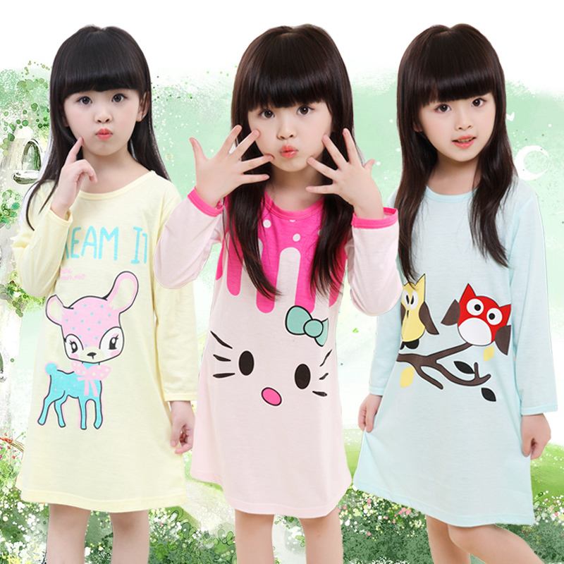 Girl Home Clothes 3-11Y 2018 Autumn & autumn Style Girl Nightgowns Children Cloth Girls Sleepwear Kids Girls Princess nihgtshirt new 2018 children cloth 3d print autumn sleepwear rn 9 girls baby cotton girl sleepwear dress kids party princess nightgown