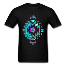 Tops & Tees Men T-shirt Unique Tshirt American Tie Dye T Shirt Print Geometric Ornament Clothing Cotton Fabric