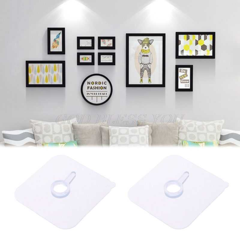 2pcs Seamless Strong Self Adhesive Hook Holder Wall Hanger Hanging kits For Photo Frame Painting Picture Poster Clock No Drill