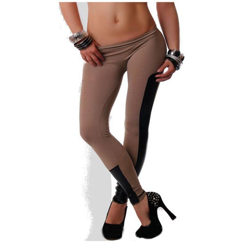 Women Elastic Waist Skinny Slim Pants Side Leather Leggings Trousers Pants Fitness Legging gym activewear Sports Pants