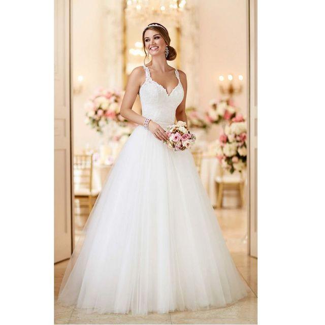 Vestido de boda Por Encargo de Tulle Correas Espaguetis Opacidad Volver 2 en 1 Desmontable \ Falda Desmontable \ Tren 2017 Vestido De Noiva