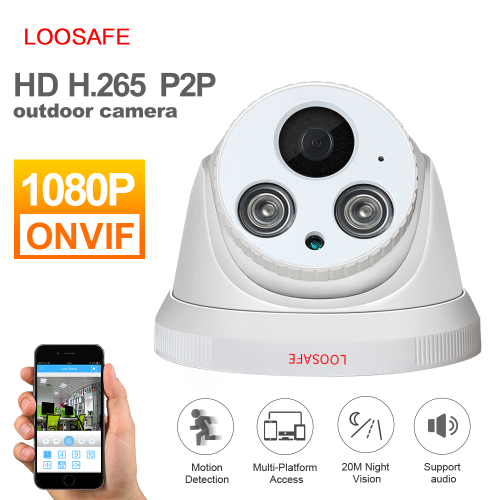 LOOSAFE Network Home Security Dome IP Camera 1080P Security Indoor IIP Cam with Alarm Night Vision CCTV ONVIF Surveillance Cam 960p dome camera mini 1 3mp ip camera hd with night vision onvif cctv security camera network home ip cam indoor low light