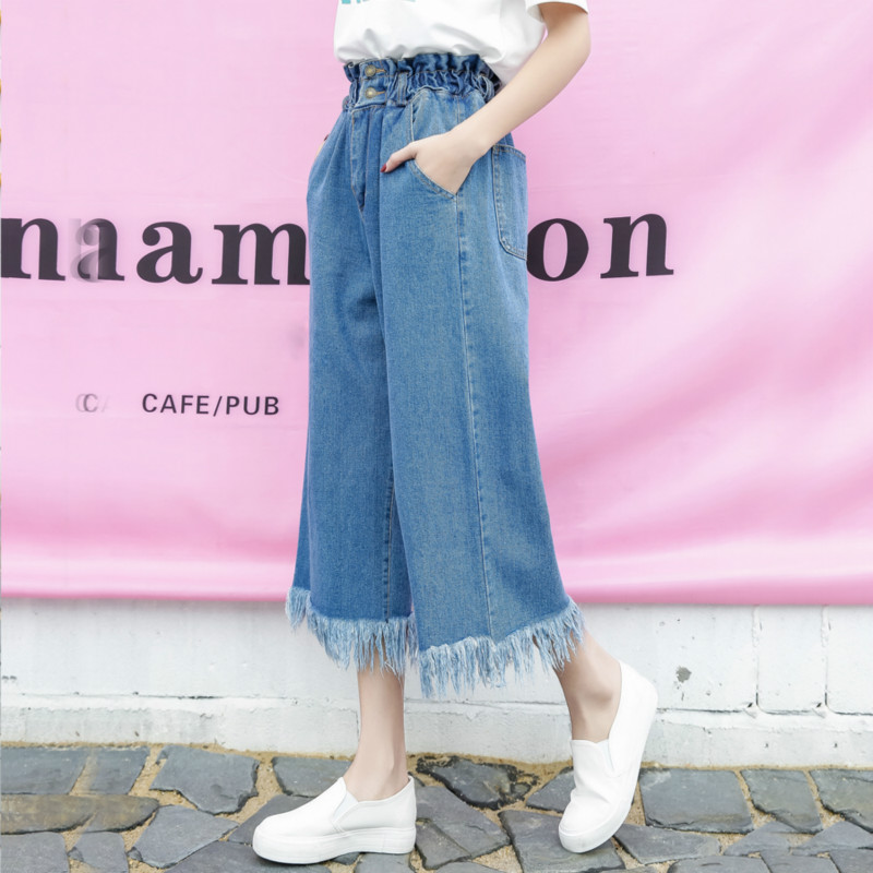 Kesebi 2017 Autumn Fashion Women High-waisted Tassel Ankle-length Denim Jeans Female Korean Style Wide Leg Pants JE232#939 new autumn beadings bf women jeans high waisted pearls black jeans for ankle length boyfriend denim pants female