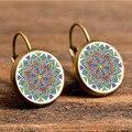 Vintage mandala flower enamel earrings for hand made women jewelry earrings charm yoga om symbol Zen Buddhism India earring