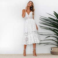 White pearls sexy women summer dress 2019 Hollow out embroidery maxi cotton dresses Evening party long ladies vestidos