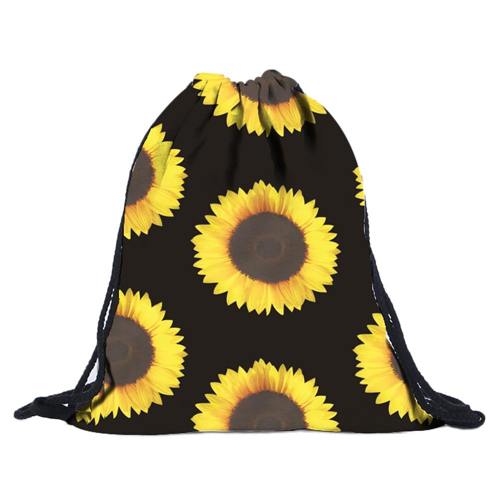 Fashion Drawstring Bag Printing Sunflower Drawstring Backpack Women Daily Casual Girl'S Bag  Mochila Feminina #TW