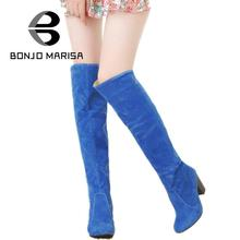BONJOMARISA Large size 34-43 2016 Women Knee High Boots Sexy Chunky High Heels Fall Winter Shoes Add Fur Platform Knight Boots