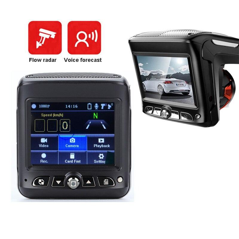 2.31 pouce 2 Dans 1 Dvr Voiture Dash Caméra Flux Radar Détecteur Vidéo Enregistreur Nuit Vision Intelligente Anglais Diffusion Audio dash Cam