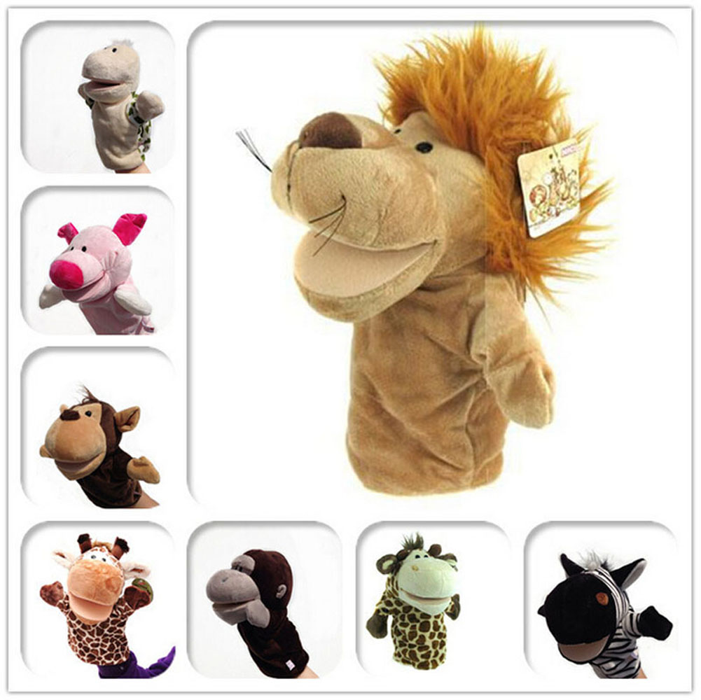 Cute Carton Animal Plush Puppets Dog Giraffe Monkey Duck Zebra Lion Doll Baby Toy Animals Toy Hand Puppet Toys