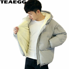 TEAEGG Gray Hooded Men's Winter Jackets Cotton Padded Loose Winter Jacket Men Coat Piumino Uomo Inverno Parkas Mujer AL333