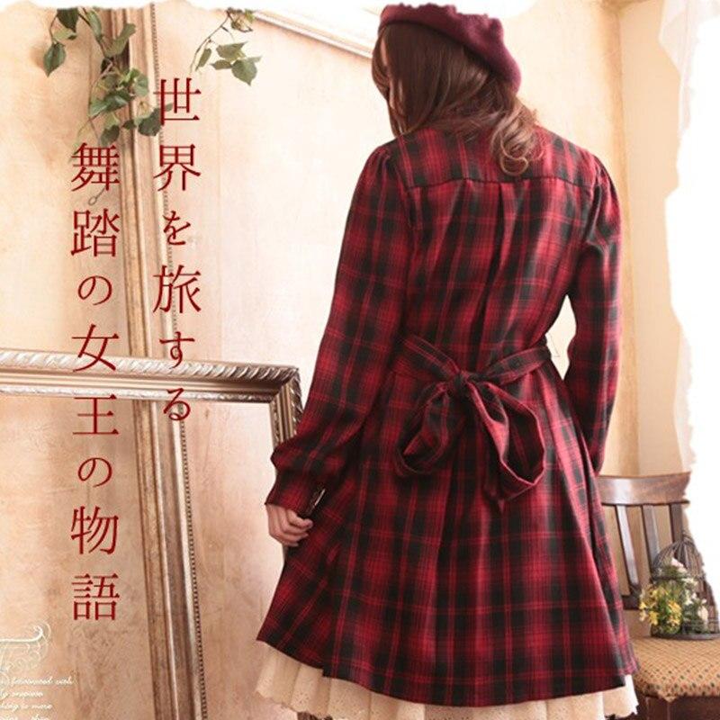 ฤดูใบไม้ผลิฤดูใบไม้ร่วง Lolita สีแดงลายสก๊อตสีดำผู้หญิง Harajuku Bow ปุ่มขาตั้งคอยาวแขน Retro Mori สาว Femmes ชุด a181-ใน ชุดเดรส จาก เสื้อผ้าสตรี บน   2