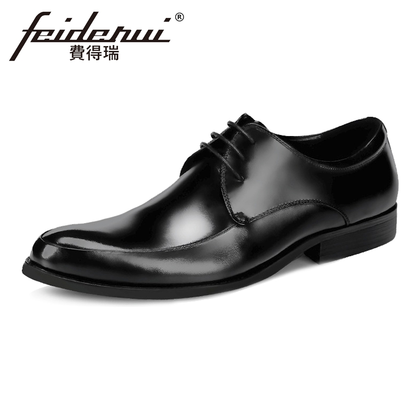 Plus Size Classic Genuine Leather Men's Oxfords Round Toe Lace-up Man Wedding Party Flats Formal Dress Derby Shoes For Man ASD38 good quality men genuine leather shoes lace up men s oxfords flats wedding black brown formal shoes