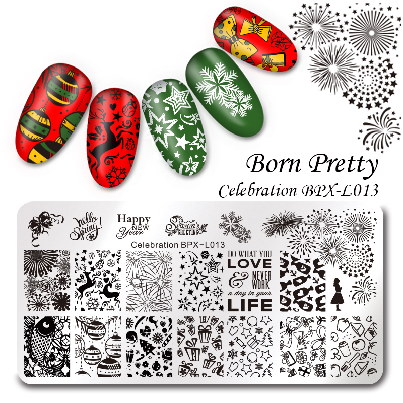 Born Pretty Christmas Rectangle Nail Stamping Template Flower Animal