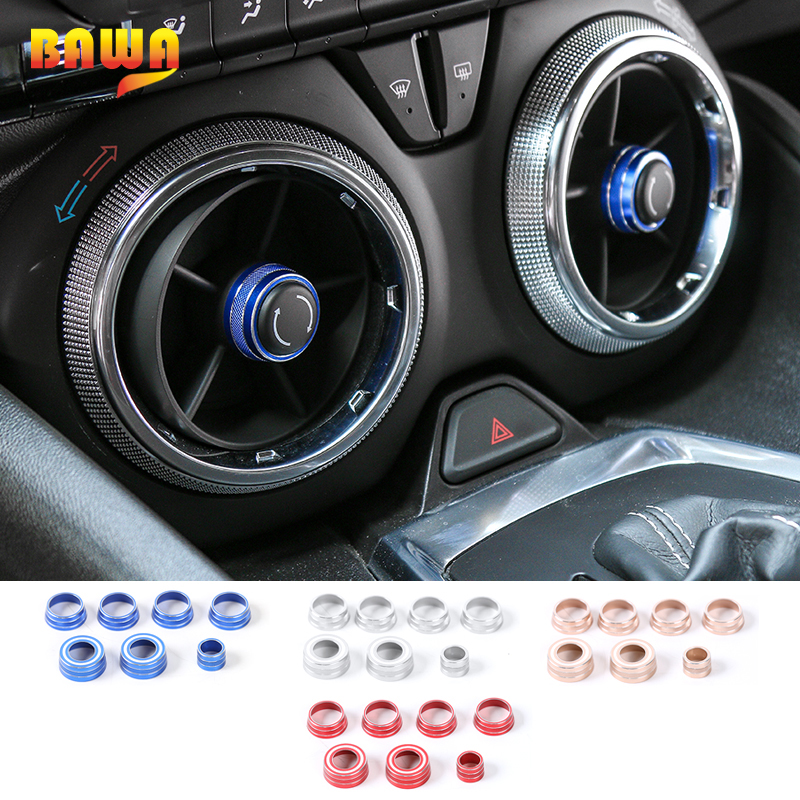 HANGUP 4 Color Aluminum Interior Dash Board Panel Decoration Ring Cover Stickers For Chevrolet Camaro 2017 Up Car Styling
