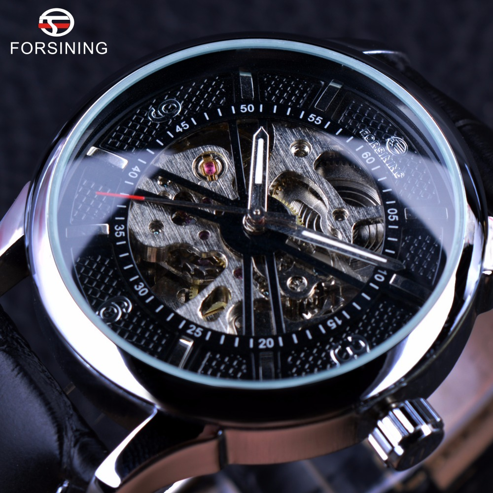 Forsining Houndstooth Design Genuine Leather Strap Black Silver Case Men Watch Top Brand Luxury Automatic Mechanical Watch Clock forsining classic series black genuine leather strap 3 dial 6 hands men watch top brand luxury automatic mechanical watch clock