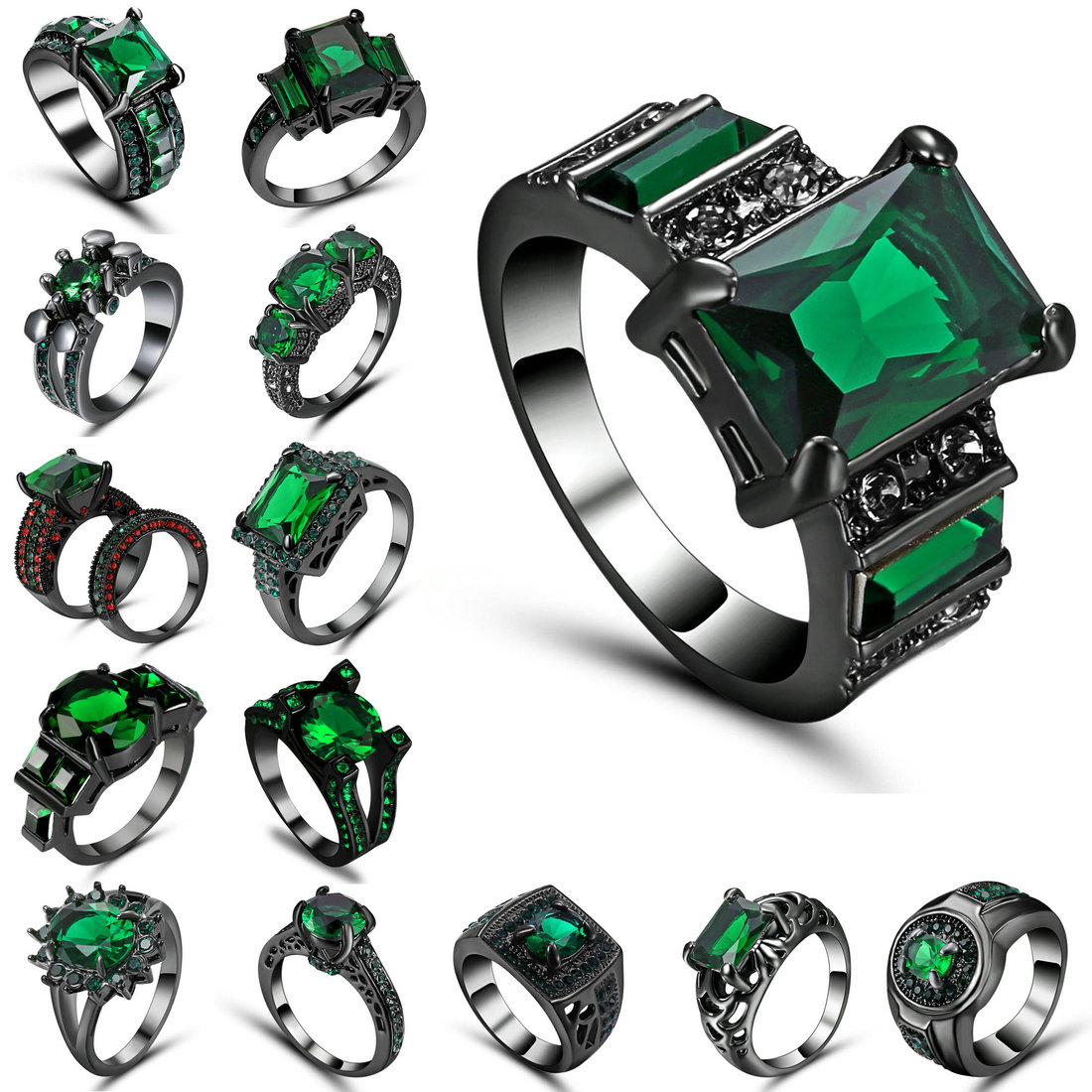 Vintage Party Women Ring Green CZ Fashion Black Gold Color Wedding Engagement Rings for Women/Men Jewelry Bijoux Femme Size 6