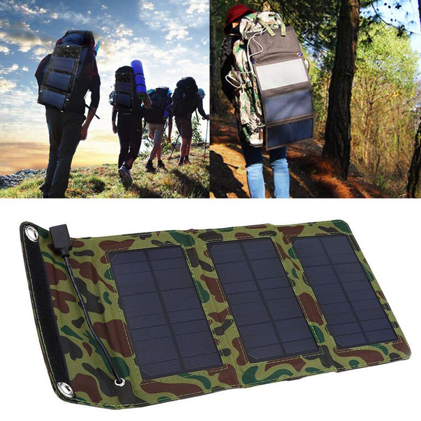 5W 5.5V USB Output Portable Solar Panel Charger Folding Camping Solar Power Bank For Cellphone MP4 Camera Battery Charger