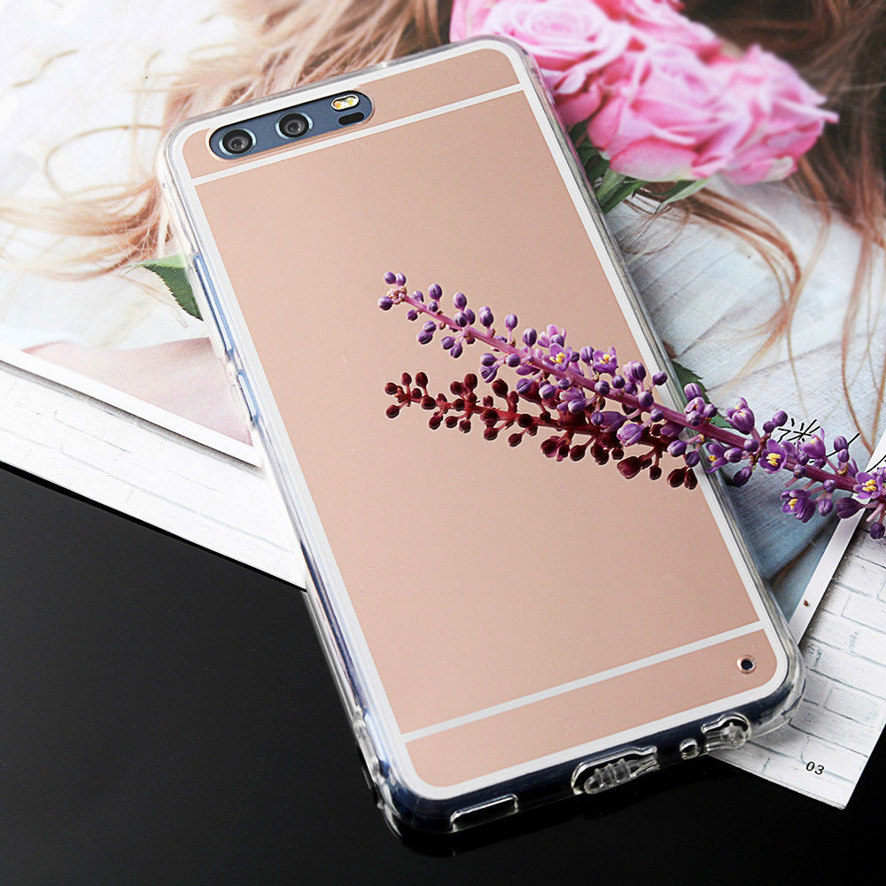 Rose Gold Plating Mirror Plastic Soft TPU For Huawei Mate 7 8 9 Case Mirror Gold Shiny Back Cover For Huawei P8 P9 P10 Plus lite