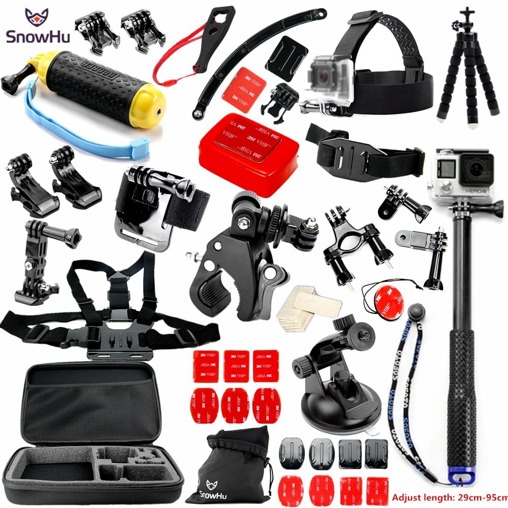 SnowHu for Gopro Accessories set for go pro Accessories for gopro hero 5 4 3 kit for SJCAM SJ4000 xiaomi yi 4k camera eken GS28 sj4000 kit accessories sj4000 set accessories sj4000 bundle accessories hot sale