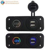 12V Dual USB Auto Car Cigarette Lighter Socket Power Charger Adapter for Phones with Digital Voltmeter Voltage Meter