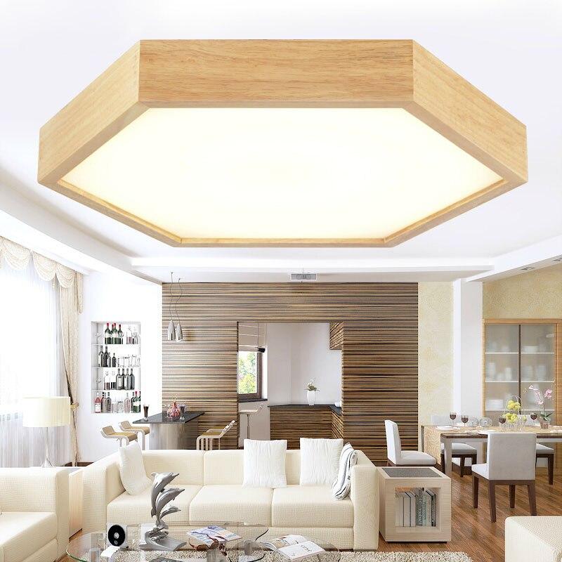 Современные дубовые шестигранные акриловые светодиодные потолочные светильники Украшение дома столовая, дерево Светодиодная потолочная