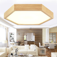 Modern OAK hexagon acrylic led ceiling lights fixture home decoration dining room wood led ceiling lamp