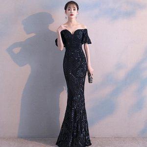 Image 4 - FADISTEE חדש הגעה אלגנטי המפלגה שמלות שמלת ערב Vestido דה Festa יוקרה שחור פאייטים קצר שרוולים נשף תחרה סגנון