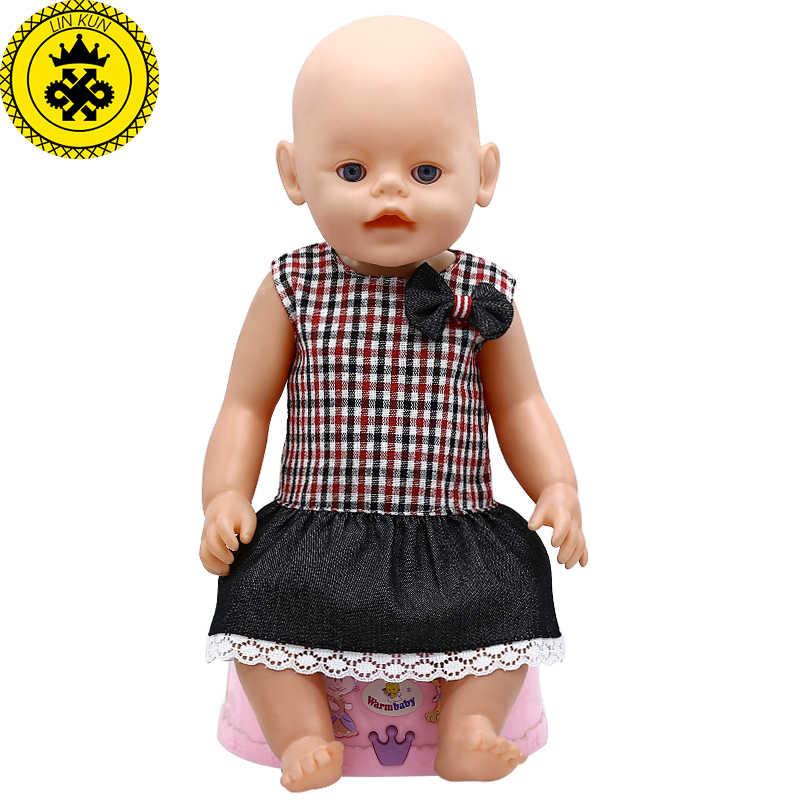 Одежда для куклы-младенца без рукавов студенческое платье клетчатая юбка подходит 43 см для ухода за ребенком для мам аксессуары для детской куклы 417