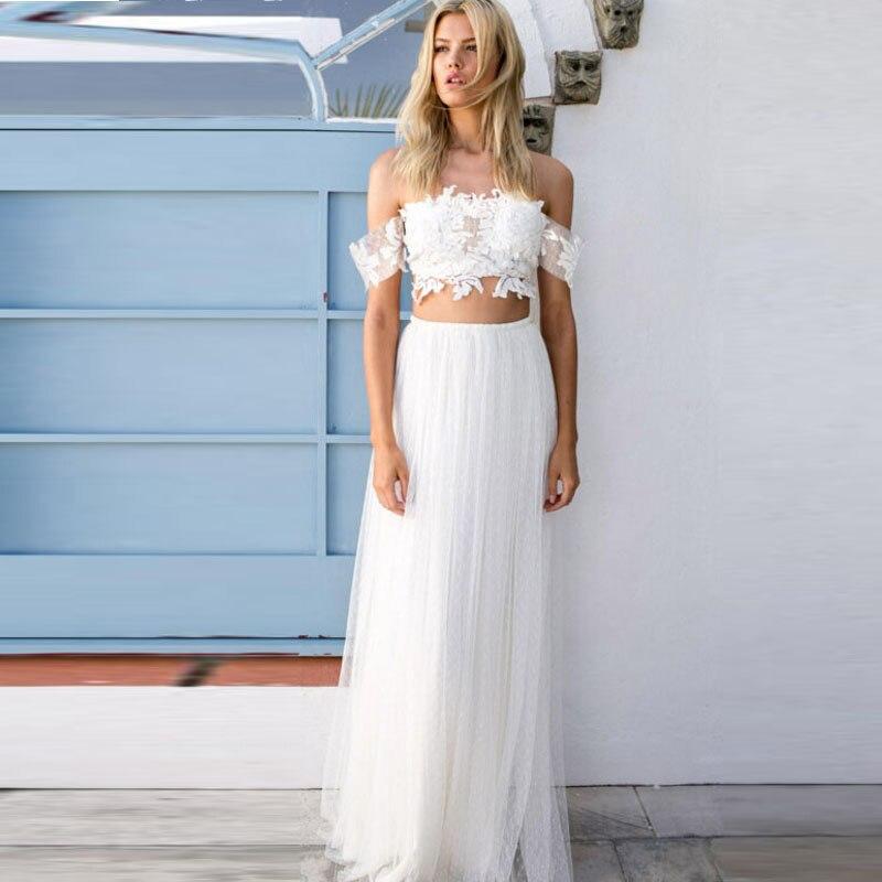 Simple 2 Pieces Beach Bridal Dress Y Lace Tank Bohemian Tulle Long Wedding 2016 Vestidos De Novia Plus Size