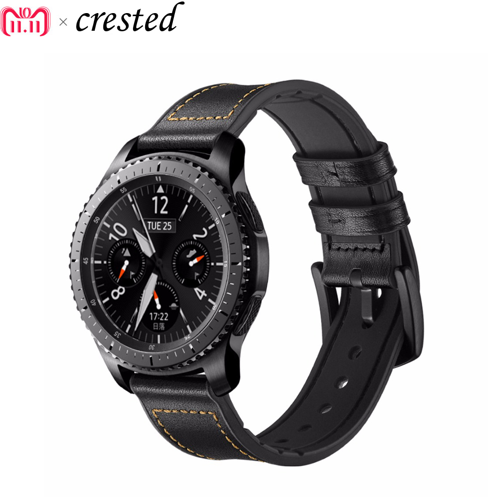 купить 22mm Leathe strap For Samsung Gear S3 Frontier/Classic watch band Sports silicone bracelet wrist bands for Xiaomi Huami Amazfit по цене 842.49 рублей