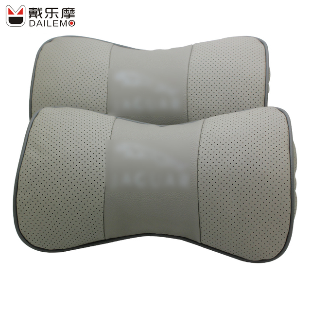 DAILEMO Silver Car Seat Cover Neck Support 2Pcs/set Leather Car-seat Covers Headrest For Jaguar XJ XF F-Type XK Ford Benz Honda