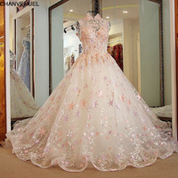 LS21880 Pink Wedding Dress Sexy Backless High Neck Ball Gown Appliqued Tulle Beaded Beaded Bridal Dresses