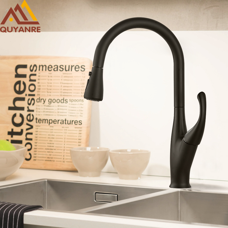 Quyanre Matte Black Pull Out Kitchen Faucets Single Handle Hot Cold Water Mixer Tap 360 Rotation Kitchen Water Tap For Kitchen
