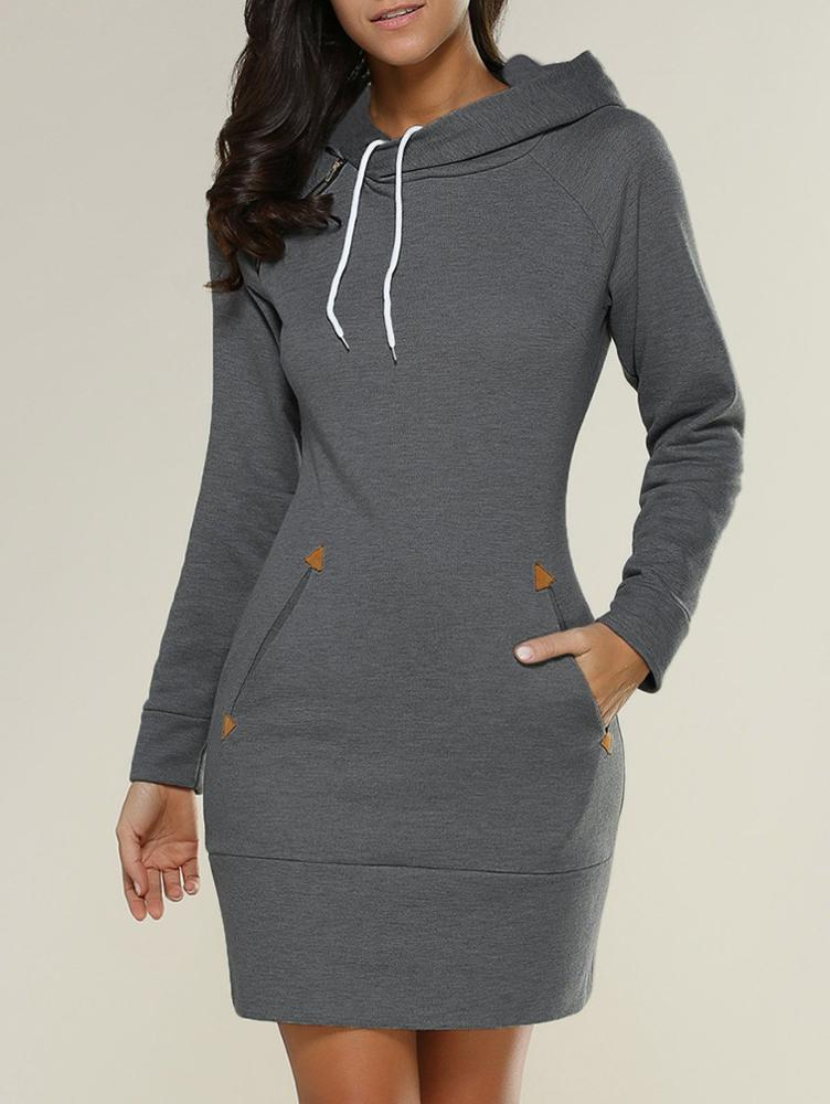 4xl 5xl plus size 2018  Women Long Sleeve Slim Hooded Pullover Zipper Tunic Sweatshirt Dress Hoodie women with Pockets