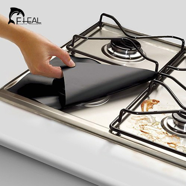 Reusable Non-stick Gas Foil Protector Cover (4pcs)