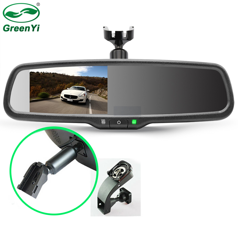 "GreenYi 4.3"" TFT LCD Car Windscreen Interior Mirrors Rearview Mirror Monitor with Original Bracket For Kia Hyundai Ford VW-in Interior Mirrors from Automobiles & Motorcycles"