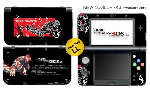 Perfect Protective Skin Sticker For Pokemon Ruby Nintendo NEW 3DS LL / NEW 3DS XL  Black
