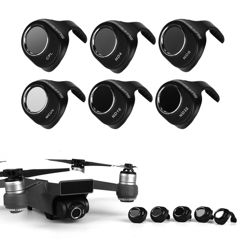 PULUZ pour dji spark accessoires set 6 en 1 HD Drone caméra ND32/16/8/4 & CPL & UV objectif filtre Set pour DJI Spark