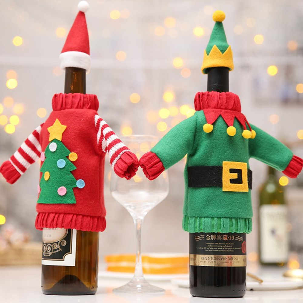 Wine Bottle Christmas Tree Rack.2019 Christmas Wine Bottle Bag Cover Felt Christmas Tree Stocking Gift Holder Christmas Table Decorations For Home Navidad Decor