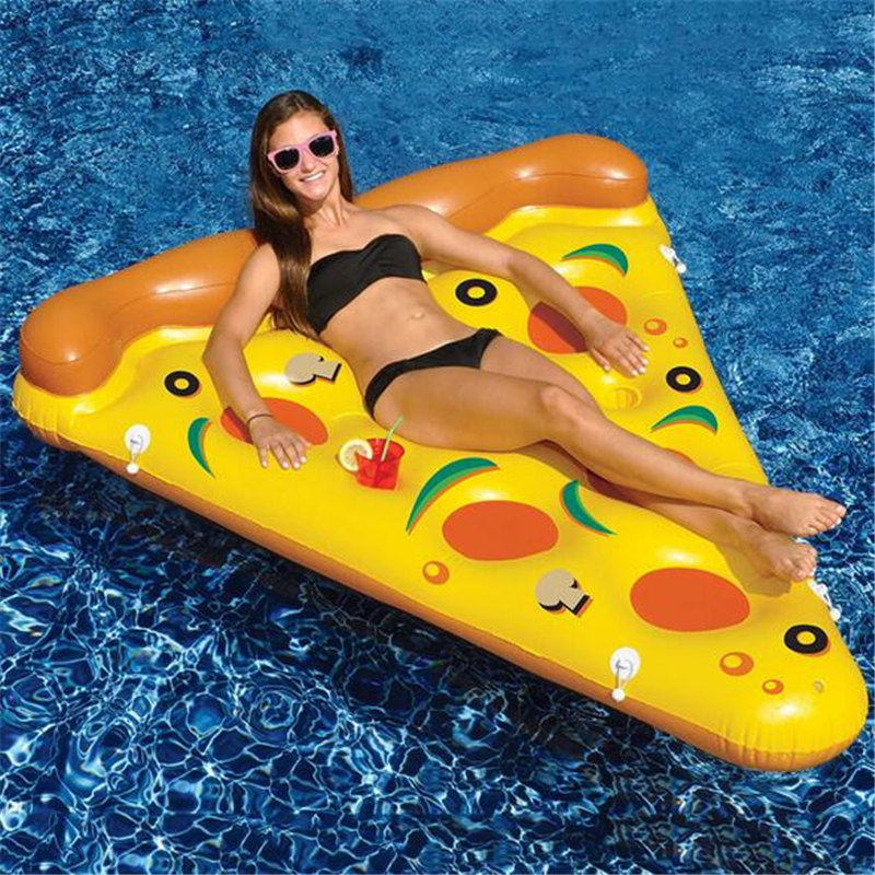 New Arival 180CM Swimming Ring Air Mattress Swimming Pool Water Toy Giant Yellow Inflatable Pizza Slice Floating Bed Raft 180 150cm giant inflatable pizza swimming pool float summer water toys outdoor fun toy beach resting lounger air mattress raft