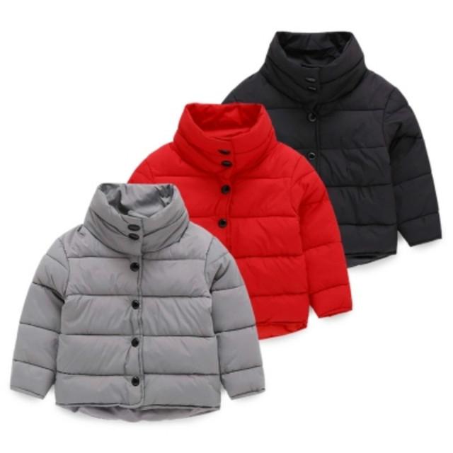2017 nuevos niños ropa de abrigo de invierno cálido niños niñas chaqueta de algodón acolchado sólido espesar collar del soporte del bebé niños prendas de vestir exteriores
