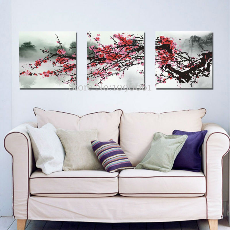 Hand Painted Abstract Red Cherry Blossom Flowers 3 Piece Canvas ...