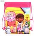 1 рис Doc Mcstuffins, игрушка Врачи детей школьные сумки милый мультфильм drawstring рюкзак и сумка Дети Рюкзаки давления