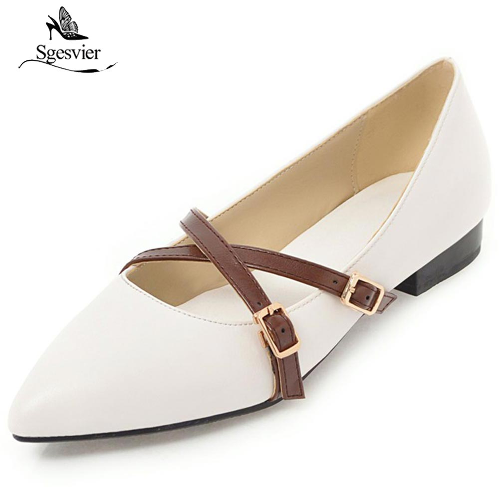 SGESVIER New 2018 Spring Women Flats PU Leather Pointed Toe Casual Flat Heel Shoes Woman Luxury Buckle Flats Shoes OX269 2017 womens spring shoes casual flock pointed toe narrow band string bead ballet flats flat shoes cover heel women flats shoes